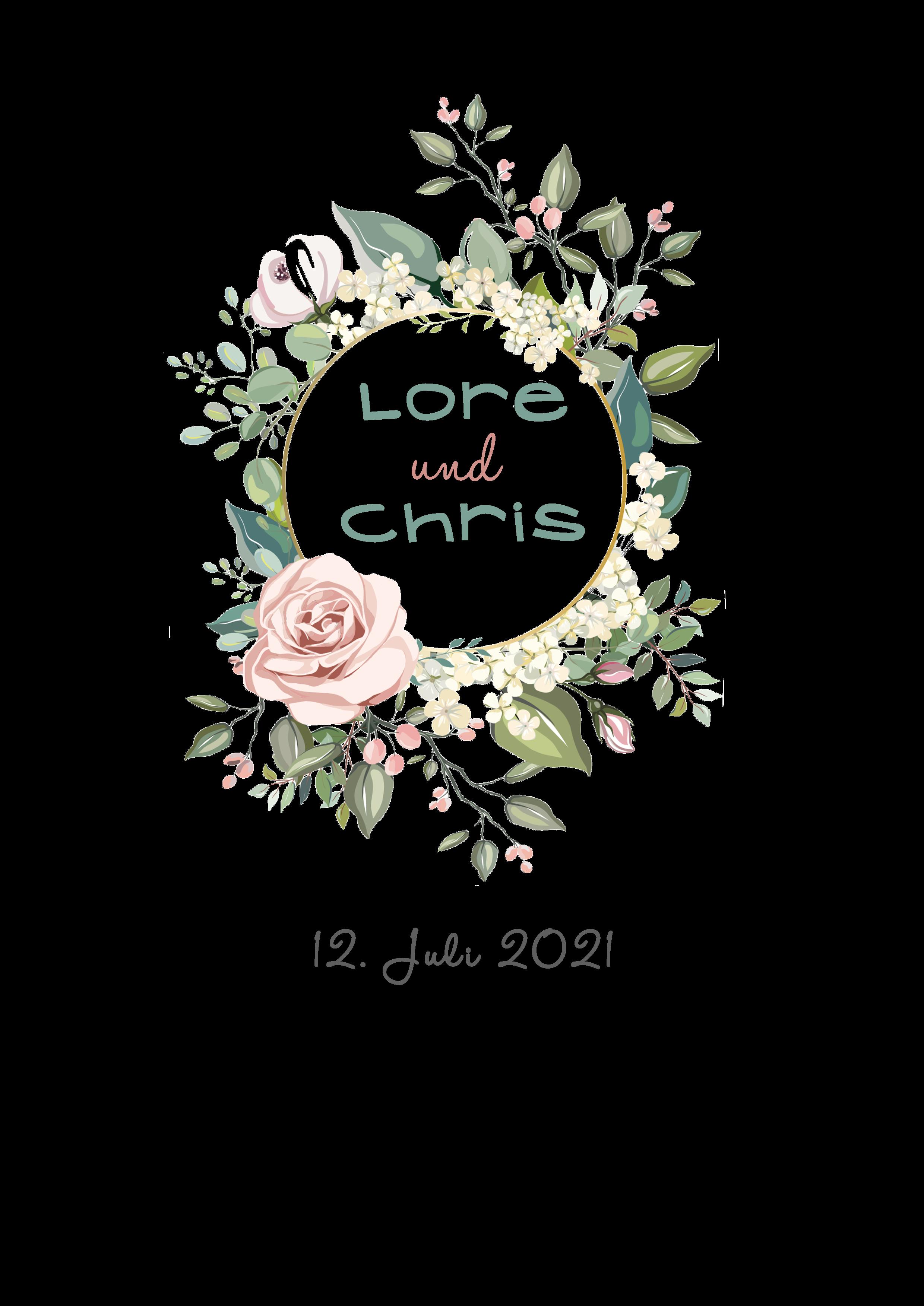 Hochzeitskerze Blütenkranz mit Rose