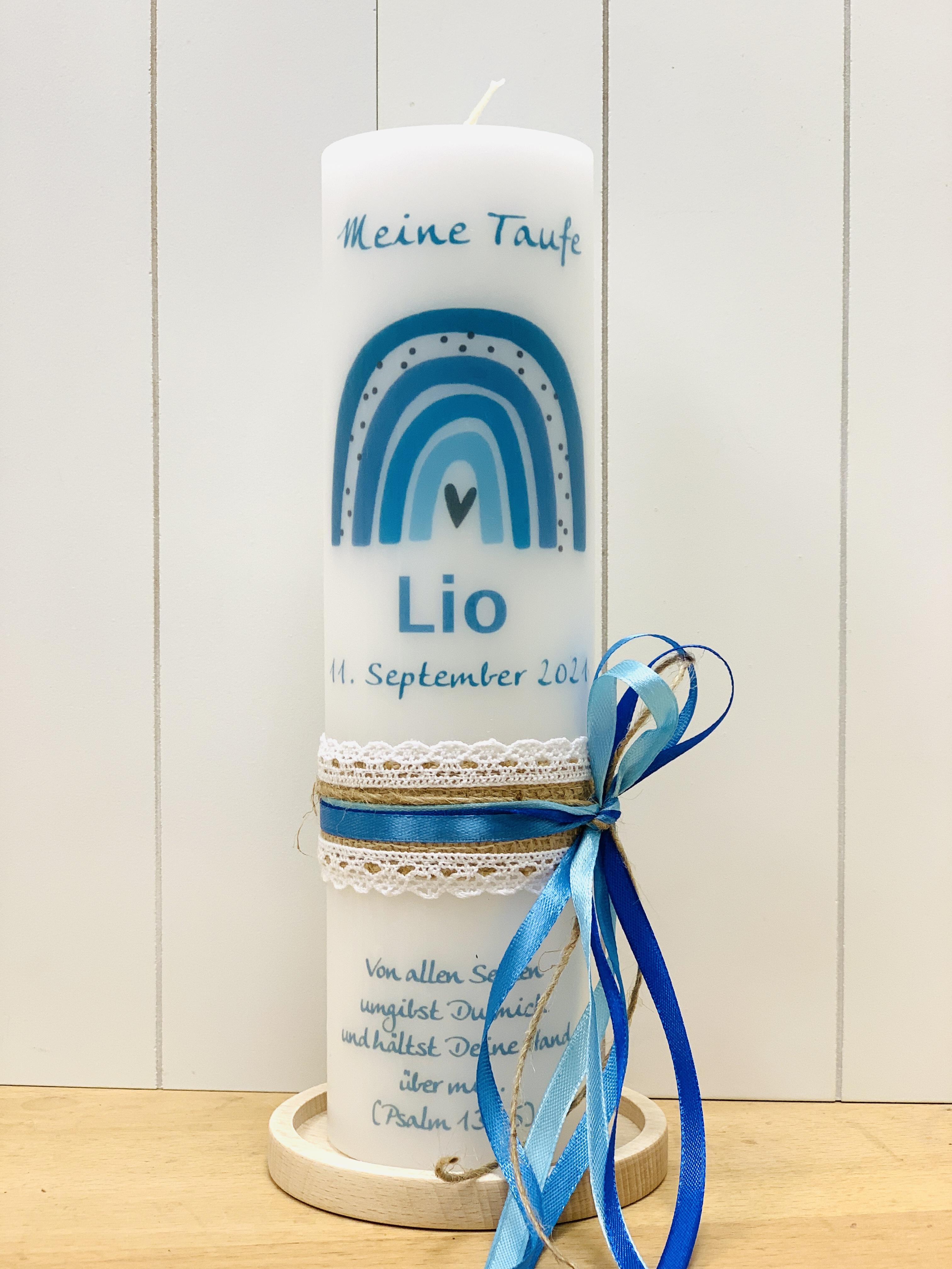 Regenbogen blau-türkis mit Vintage Schleifenband (Motiv 197-4)