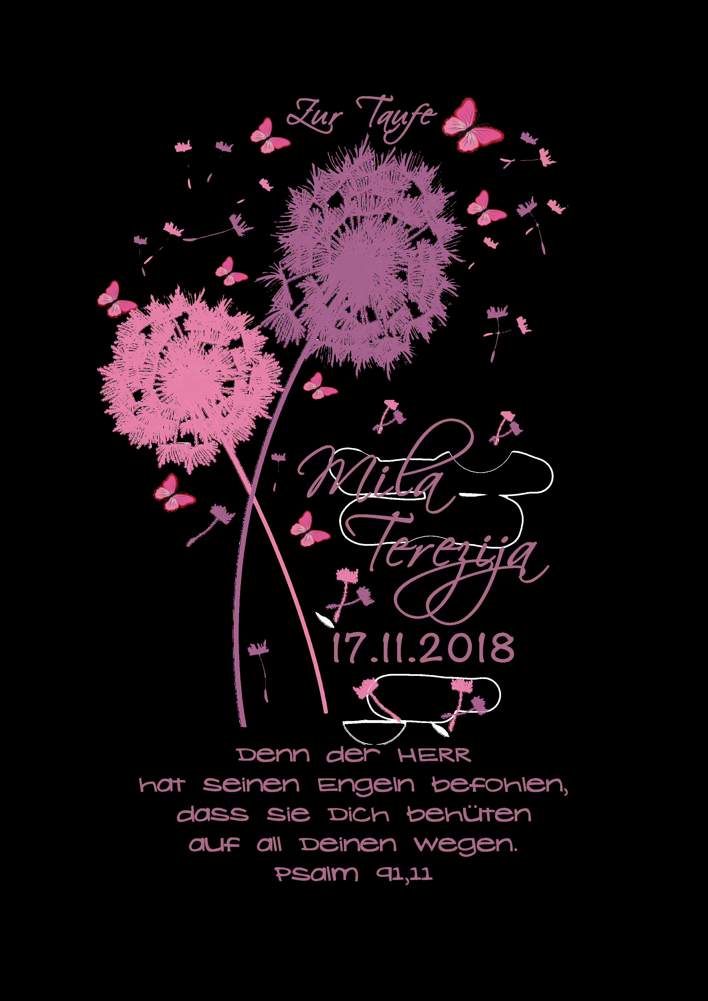 Kerze Pusteblume rosa flieder