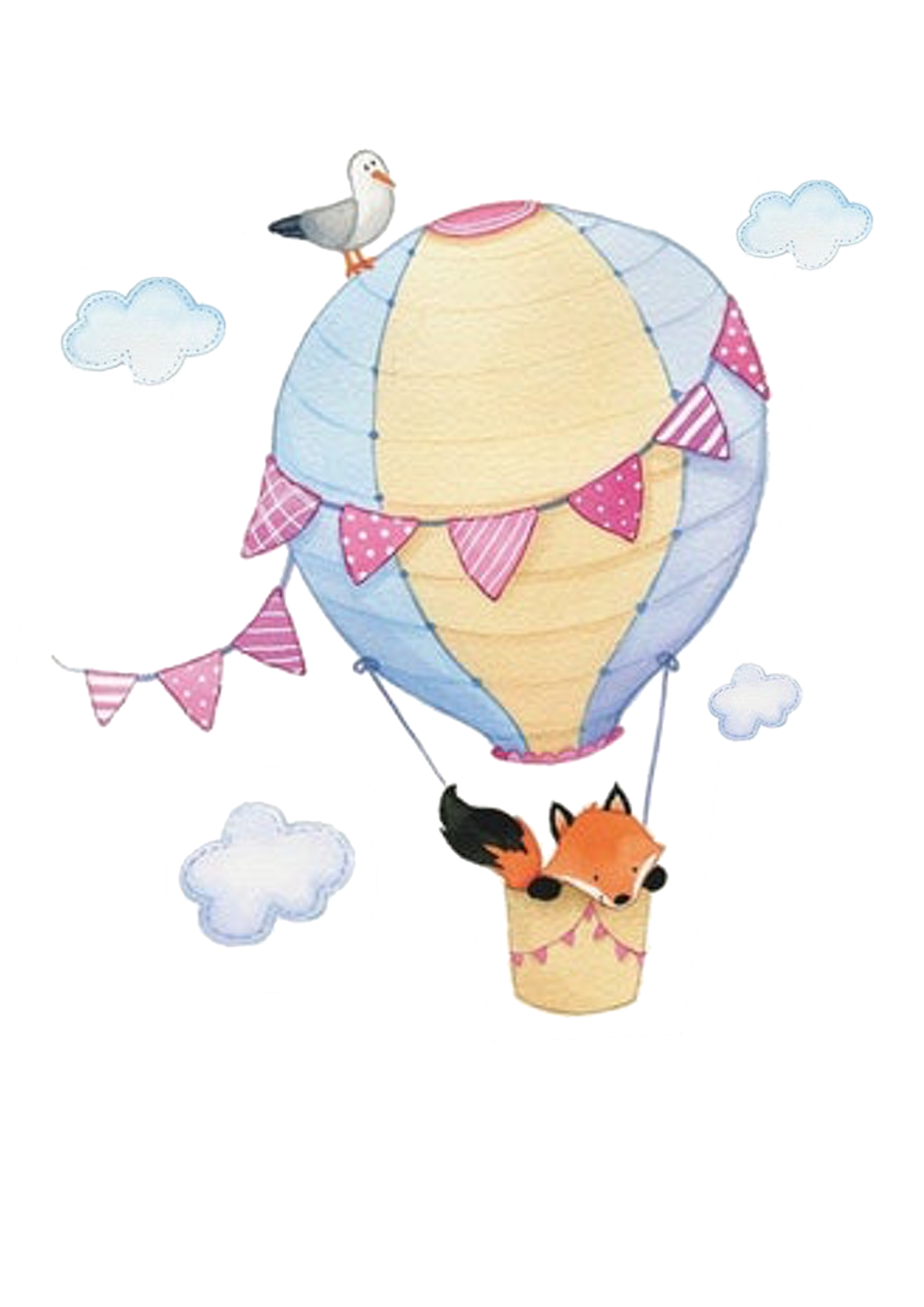 Kerze Heißluftballon mit Fuchs rosa