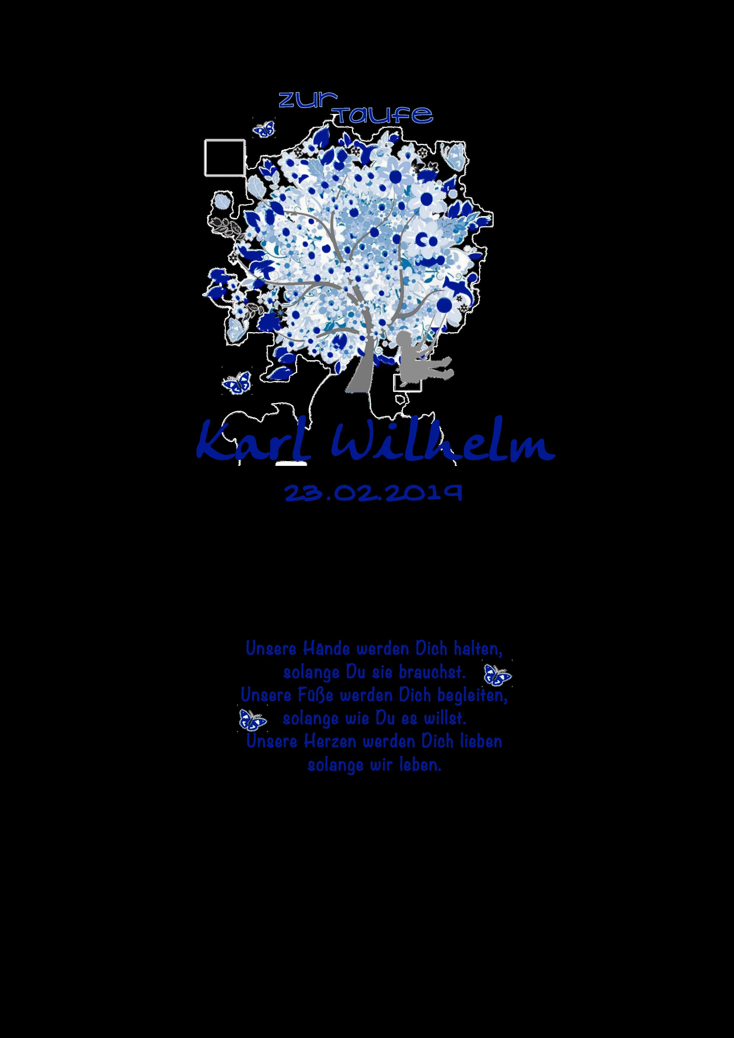 Baum des Lebens blau mit schaukelndem Jungen