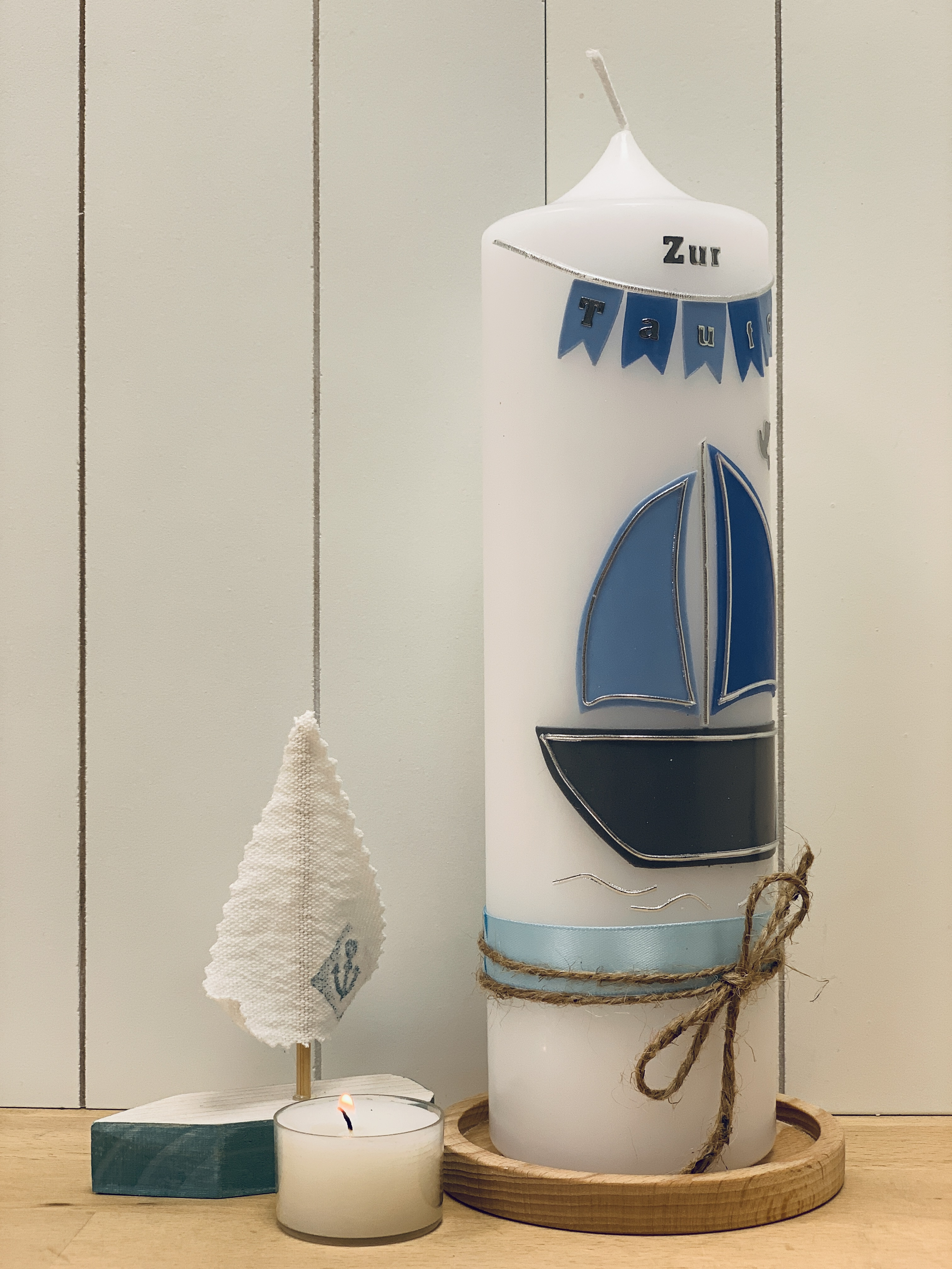 Kerze Segelboot blau