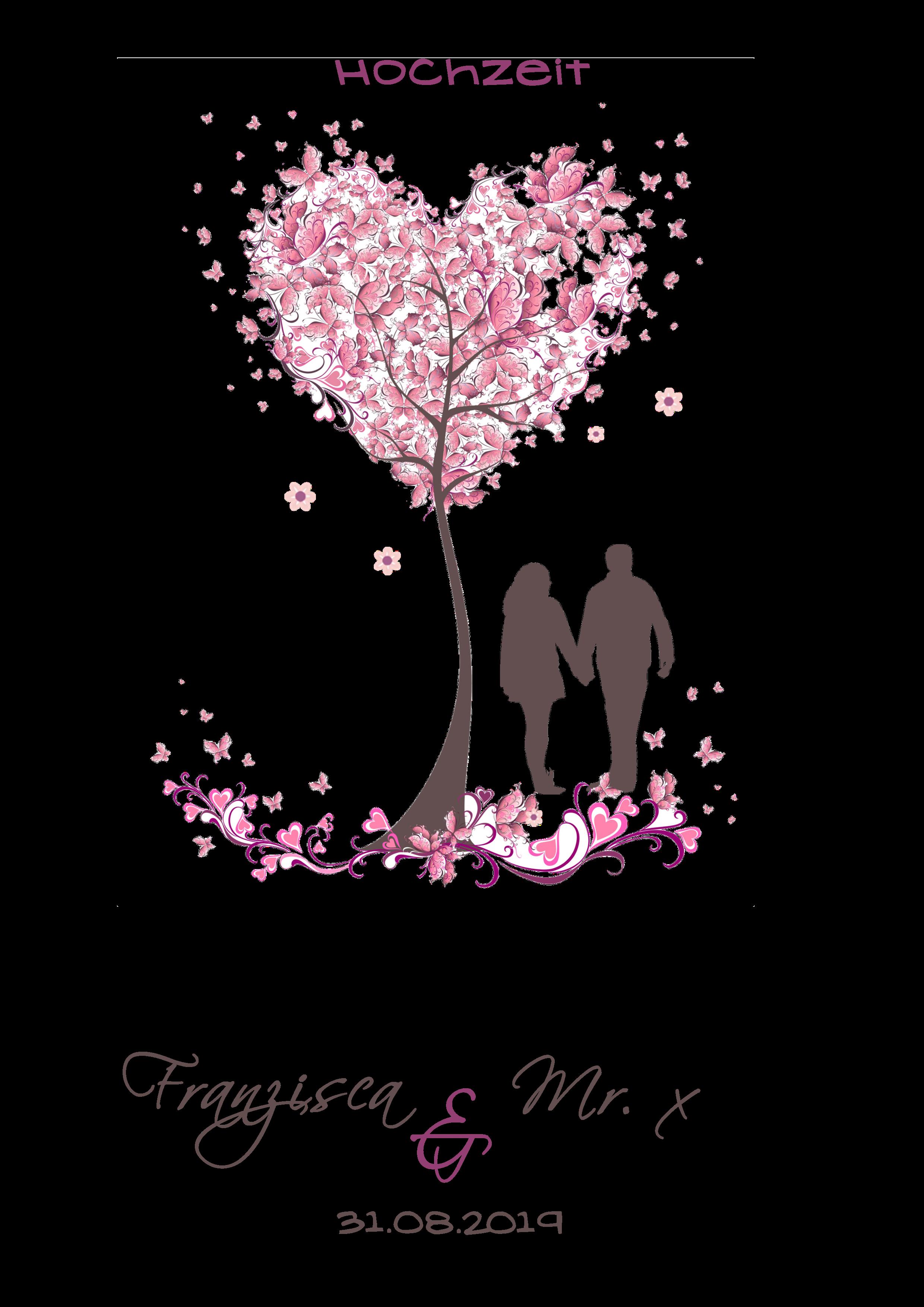 Hochzeitskerze Baum mit Paar