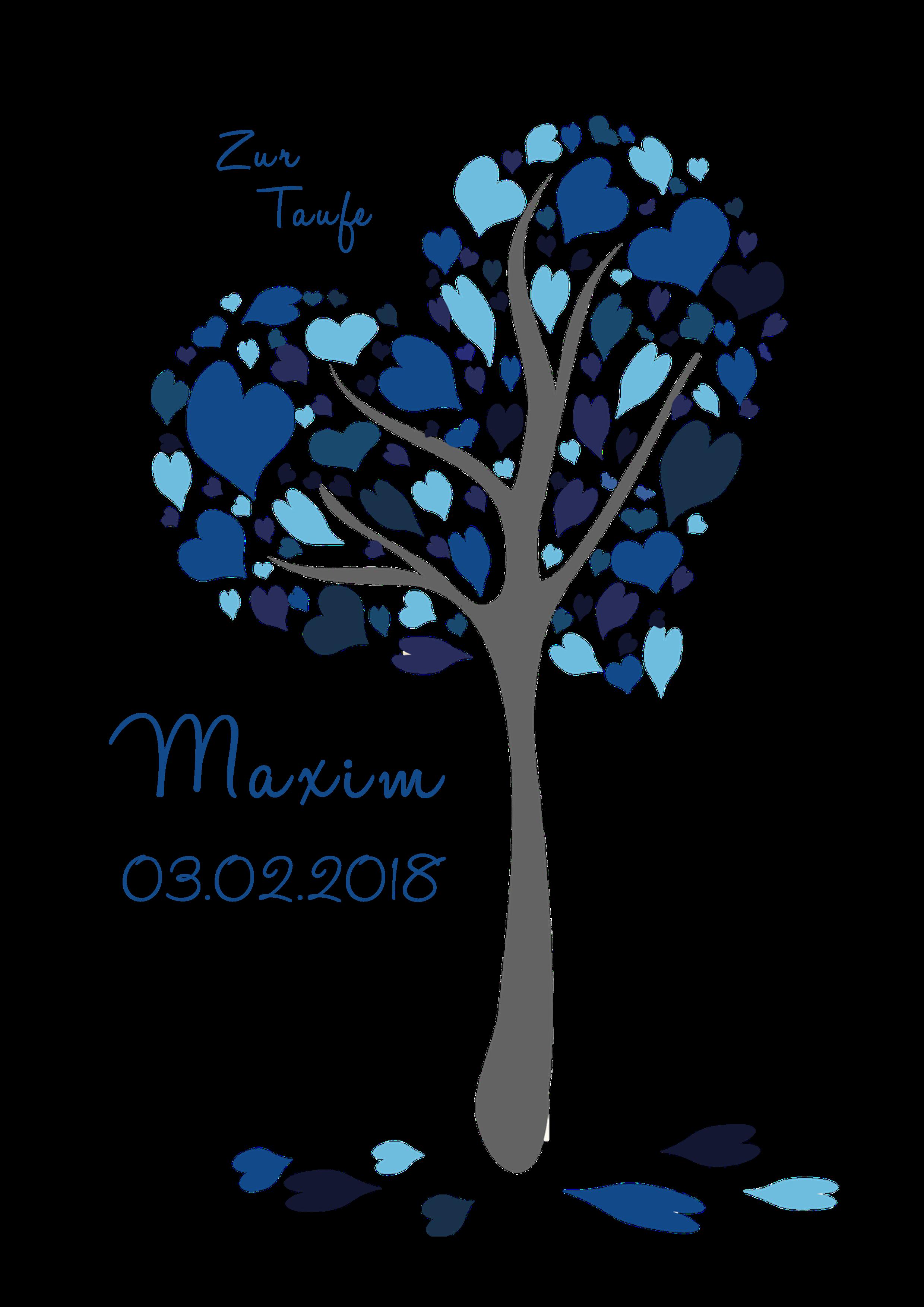 Kerze Herzchenbaum blau