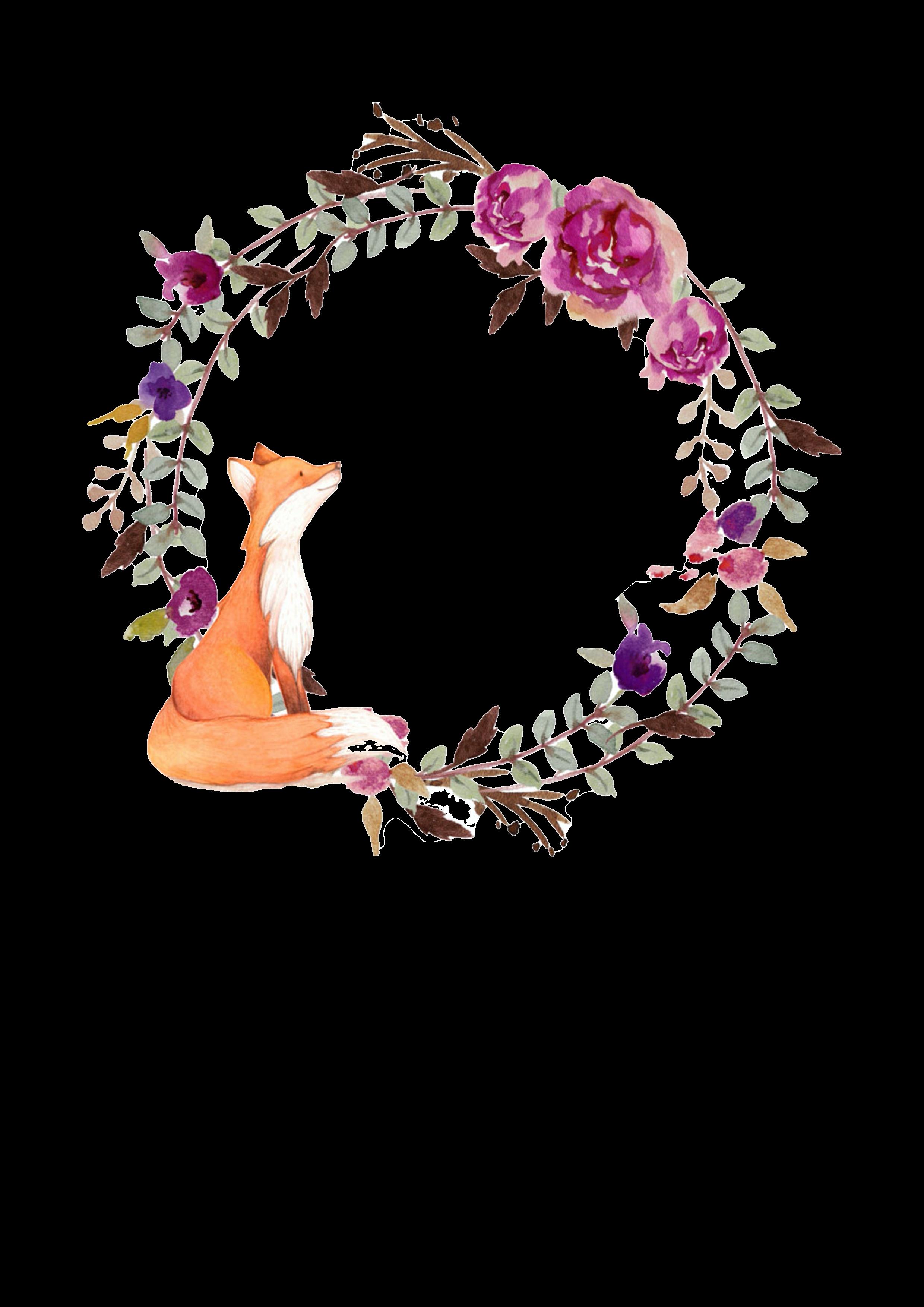 Kerze Fuchs mit Blumenkranz
